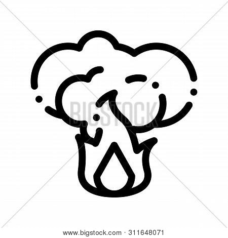 Fire With Smoke Wildfire Vector Thin Line Icon. Conflagration Ecological Fatal Down Environmental Po