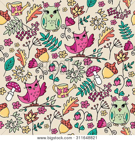 Cute Autumn Fowest Seamless Pattern With Owls.
