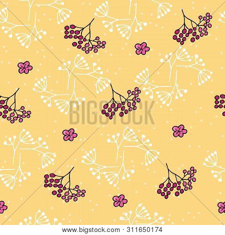 Cute Seamless Pattern With Rowan And Spots On Yellow Background.