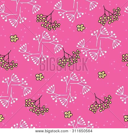 Cute Seamless Pattern With Rowan And Spots On Pink Background.