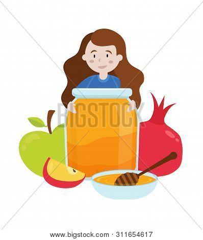 Rosh Hashanah, Little Girl Holding Honey Jar With Apples And Pomegranate Rosh Hashanah Symbols. Vect