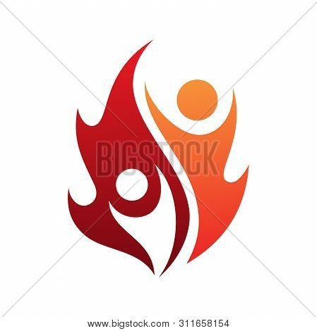 poster of Flame life vector icon with two people in abstract style on the white background. Fire icon for your best business symbol. Vector illustration EPS.8 EPS.10