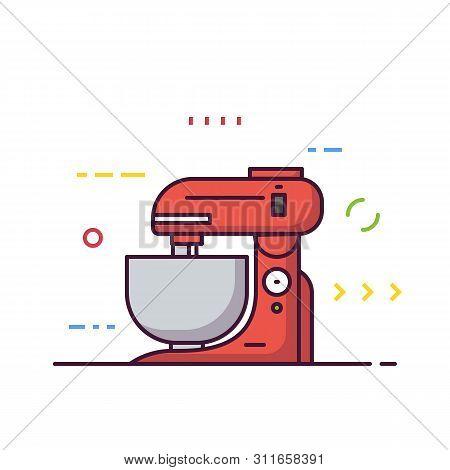 Kitchen Food Processor Machine Vector. Kitchen Mixer Machine For Cooking. Red Modern Electric Kitche