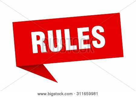 Rules Speech Bubble. Rules Sign. Rules Banner