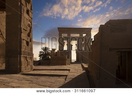 Philae Temple, Aswan, Egypt. Early Morning Light At The Temple, A Popular Destination For River Crui