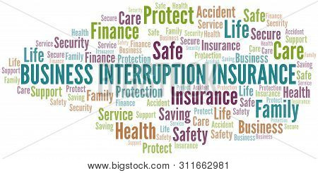 Business Interruption Insurance Word Cloud Vector Made With Text Only