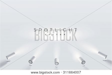 Five Spotlights Shine In One Place. Projector On The Wall. Minimalistic Design. Empty Place. Vector