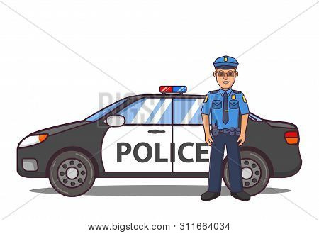 Police Officer Cartoon Character. Police Car Side View. Patrol Vehicle Of Emergency Services Beacon.