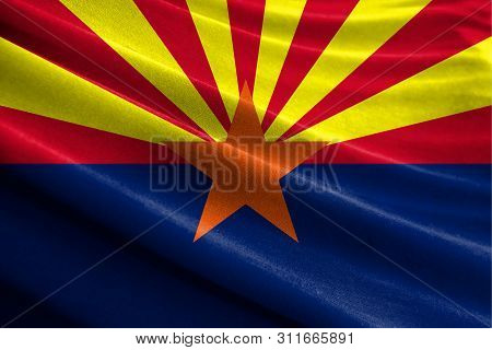 Realistic Flag State Of Arizona On The Wavy Surface Of Fabric