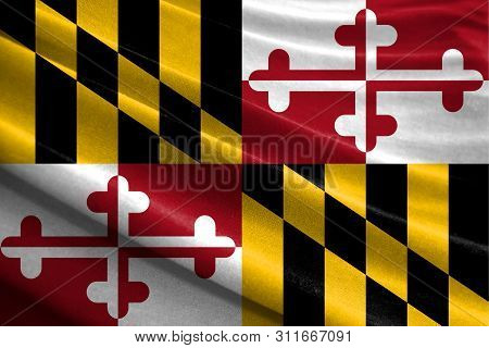 Realistic Flag State Of Maryland On The Wavy Surface Of Fabric