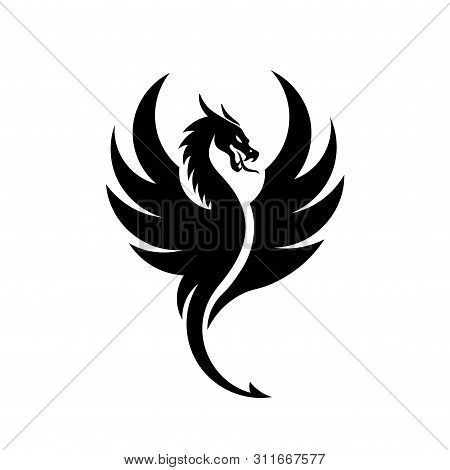 Creative Simple Dragons Silhouettes Logo Stylized Vector Illustrations