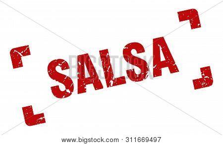 Salsa Stamp. Salsa Square Grunge Sign. Salsa
