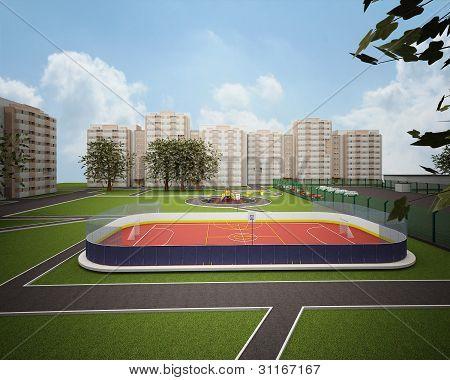 Sport field 3d model