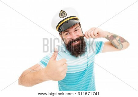 Captain Of Cruise Liner. Brutal Seaman Isolated On White. Captain Concept. Welcome Aboard. Bearded M