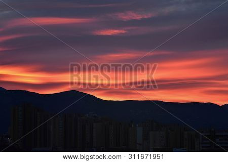 Morning Sky Over The Roofs. Sunrise. Urban Landscape. Dawn. Daybreak. Sunset - Image