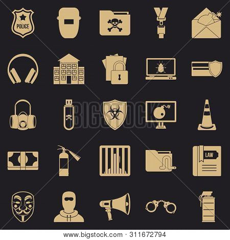 Prosecution Icons Set. Simple Set Of 25 Prosecution Icons For Web For Any Design