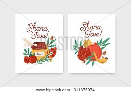 Bundle Of Rosh Hashanah Flyer Or Poster Templates Decorated By Shofar Horn, Honey, Apples, Pomegrana