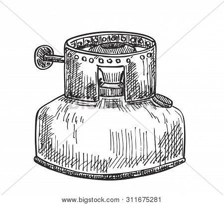 Sketch Of An Old Kerosene Stove For Heating Food