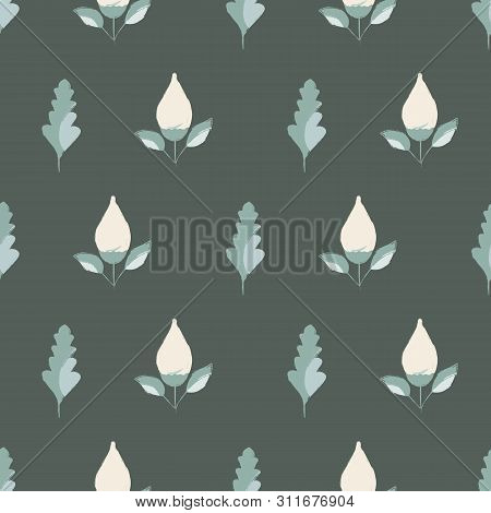 Delicate Hand Drawn Pastel Pink Buds And Muted Blue Green Leaves. Seamless Vector Pattern On Slate G