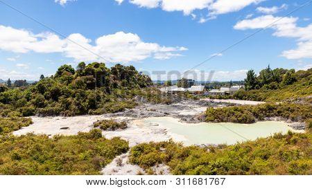 An image of geothermal activity at Whakarewarewa Rotorua New Zealand
