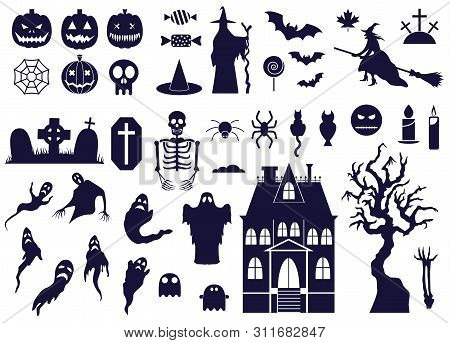 Halloween Design Elements Set With Bw Icons