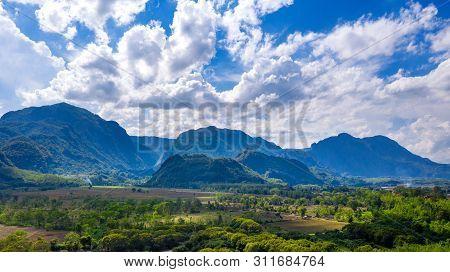 Aerial View Of Doi Nang Non Mountains Or Thai Cave Tham Luang At Chiang Rai, Thailand.