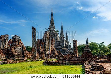Wat Phra Si Sanphet Temple In Ayutthaya Historical Park, Ayutthaya Province, Thailand. Unesco World