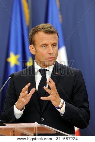 BELGRADE, SERBIA - JULY 15, 2019: French president Emmanuel Macron gestures during press conference