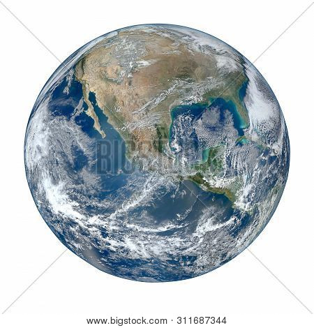 Planet Earth Globe View From Space Isolated On White Background. (elements Of This Image Furnished B