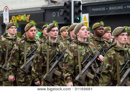 LIMERICK, IRELAND - MARCH 17:  Unidentified soldiers of Irish army participate in a parade for St. Patrick's Day. It's a traditional Irish holiday celebration. March 17, 2012 in Limerick, Ireland.