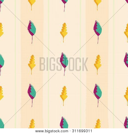 Modern Vintage Hand Drawn Mixture Of Gold And Purple Teal Leaves. Seamless Vector Pattern On Wide St