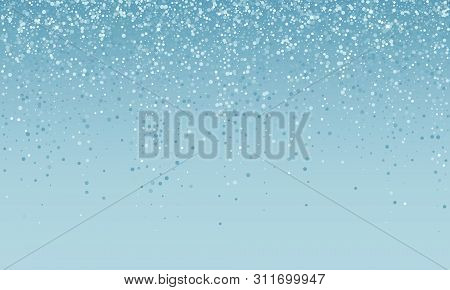 Silver Confetti Falling On Blue White Holiday Background. Vector Carnival Party Glitter, Sparkling S
