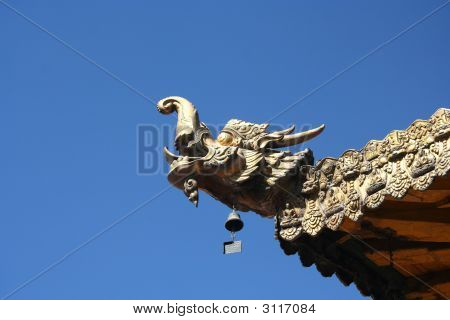 Temple Dragon And Blue Sky