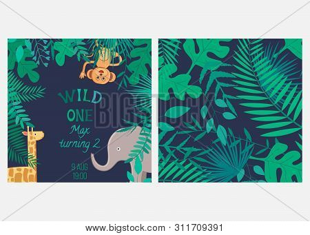 Vector Illustration With Cartoon Animals And Inscription Wild One And Seamless Pattern With Leaves.