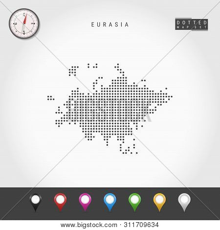 Dots Map Of Eurasia. Simple Silhouette Of Eurasia. Realistic Vector Compass. Set Of Multicolored Map