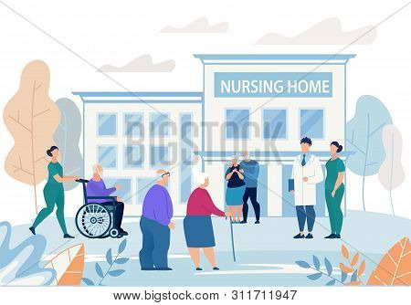 Informational Flyer Nursing Home Building Flat. Poster Group Elderly People Walks Near Nursing Home