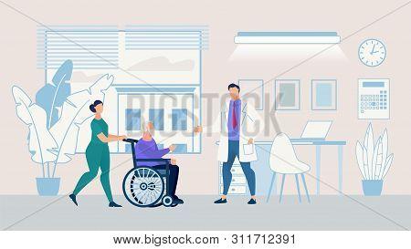 Informational Poster Nursing Home Cartoon Flat. Banner Hospitalization An Elderly Person. Flyer Nurs