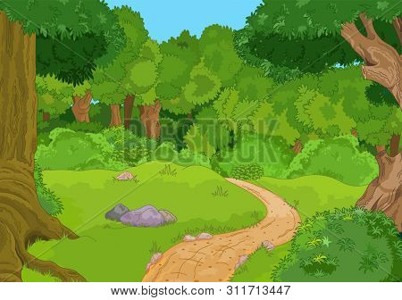 Illustration of green forest landscape