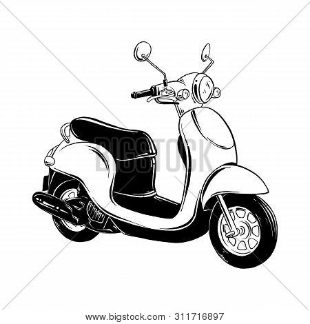 Vector Engraved Style Illustration For Posters, Decoration And Print. Hand Drawn Sketch Of Scooter I