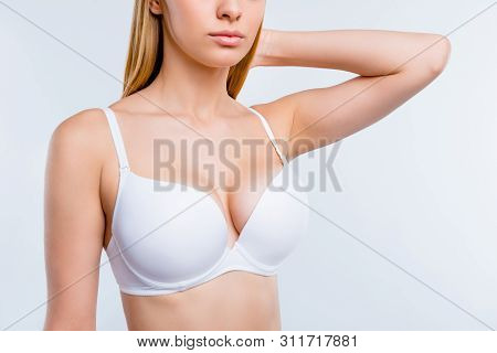 Cropped Close-up Portrait Of Nice Calm Confident Attractive Lovely Blonde Girl Chest After Uplift In
