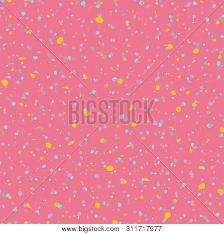 Seamless Artistic Creative Splash Blots Pattern. Yellow And Pink Abstract Seamless Ink Stains Untidy