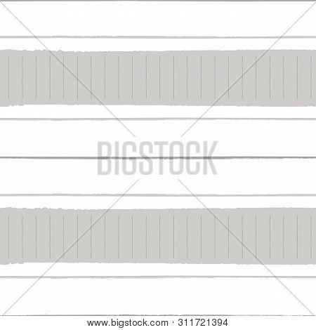 Horizontal Torn Paper Effect And Grunge Stripes In Warm Neutral Colors. Seamless Geometric Vector Pa