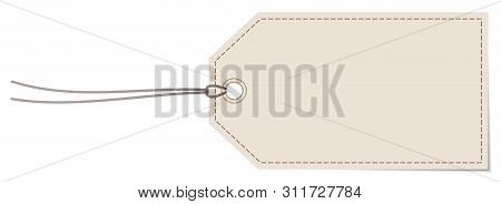 Horizontal Angled Hangtag Seam Beige With String And Shadow