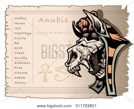 Template On The Subject Of Ancient Egyptian Mythology. God Anubis, A Guide To The Afterlife