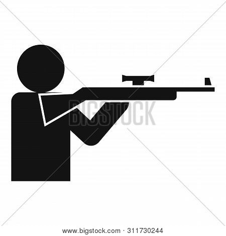 Sniper Shooter Icon. Simple Illustration Of Sniper Shooter Vector Icon For Web Design Isolated On Wh