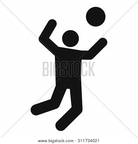 Volleyball Player Atack Icon. Simple Illustration Of Volleyball Player Atack Vector Icon For Web Des