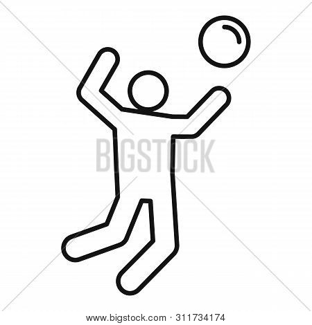 Volleyball Icon. Outline Volleyball Vector Icon For Web Design Isolated On White Background