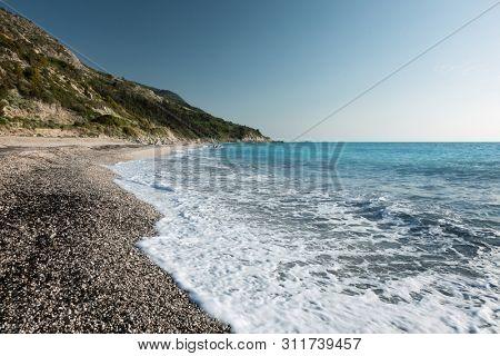 Avali beach, Lefkada island, Greece. Beautiful turquoise sea on the island of Lefkada in Greece