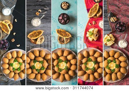 Collage Of Arabic Meat Appetizer Kibbeh. Traditional Arabic Kibbeh With Lamb And Pine Nuts