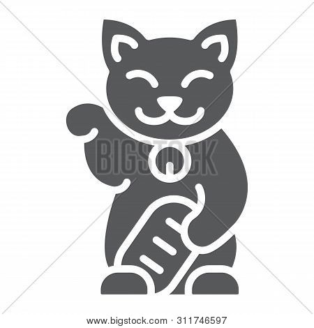 Maneki Neko Glyph Icon, Asian And Animal, Japanese Cat Sign, Vector Graphics, A Solid Pattern On A W